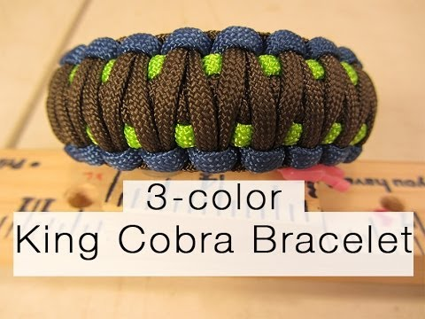 How To Make A King Cobra Paracord Bracelet (3,color!)