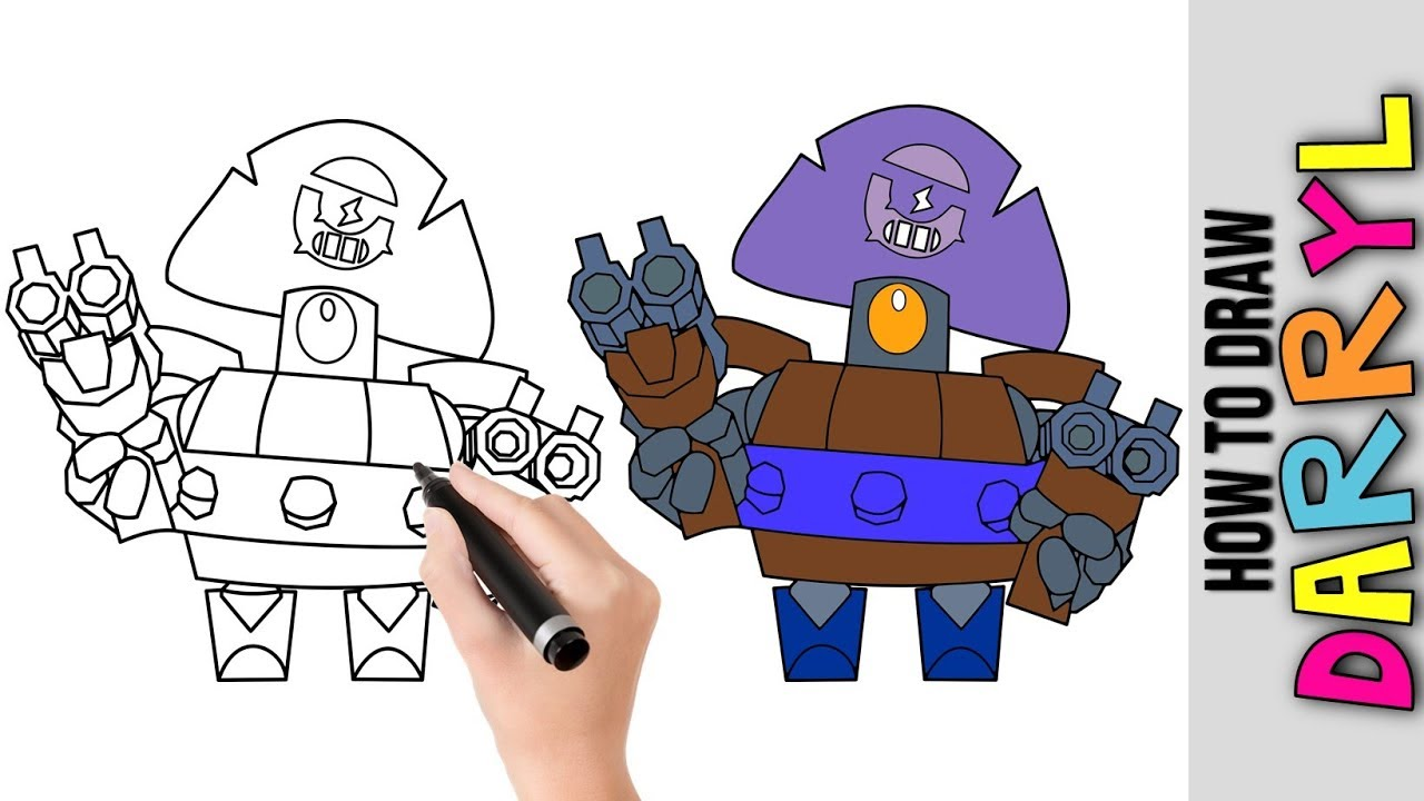 How To Draw Darryl From Brawl Stars ★ Cute Easy Drawings ...