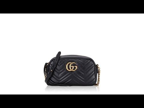 Gucci Matelasse Small GG Marmont Chain Shoulder Bag Black