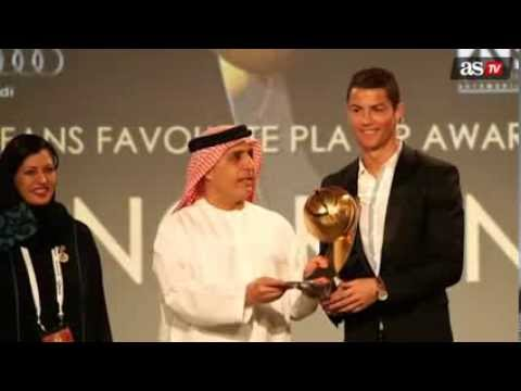 Cristiano Ronaldo  Wins the Globe soccer  Favorite player of the year award 2013