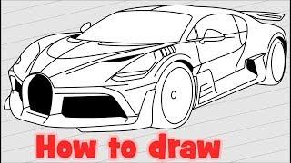 How to draw Bugatti Divo hypercar
