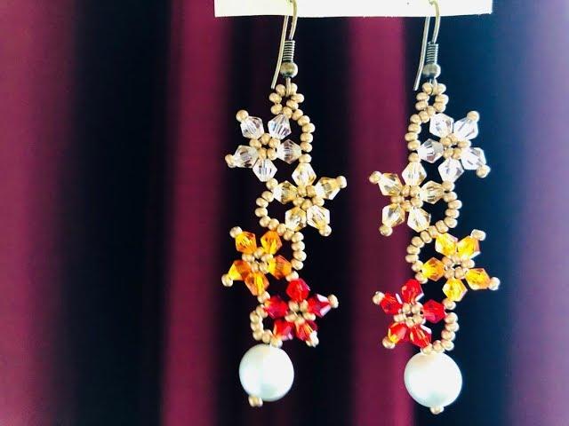 Dancing Flower Earrings || DIY Beaded Earrings || Bicone Earrings