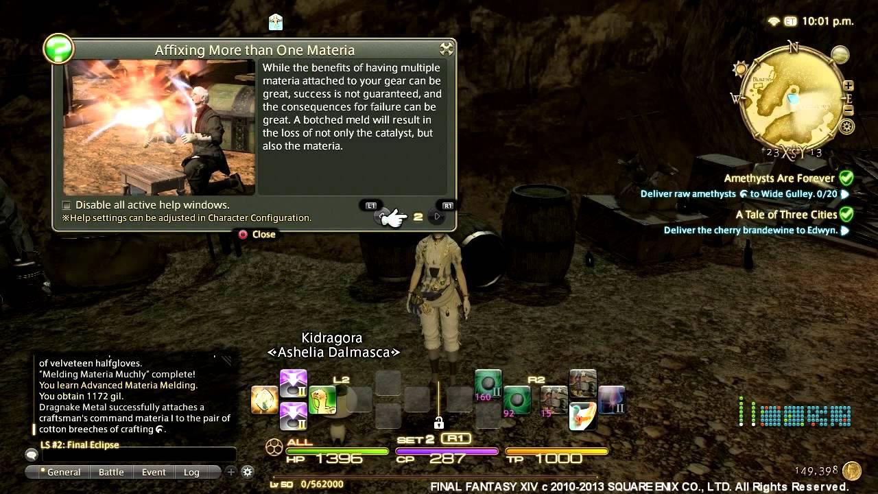 Final Fantasy XIV A Realm Reborn Perfect - Getting Advanced Materia Meld  Ability