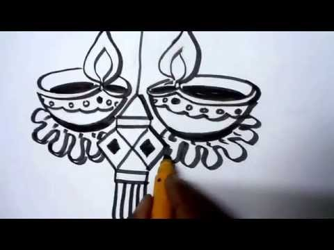 how-to-draw-lanterns-and-diyaas-for-diwali