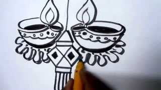 How To Draw Lanterns And Diyaas For Diwali