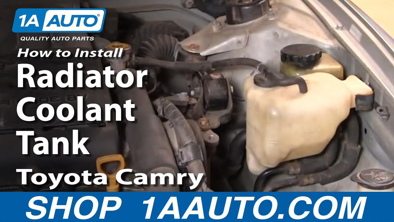 how to install replace radiator coolant tank toyota camry avalon rh youtube com toyota camry coolant leak 2007 toyota camry coolant leak