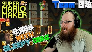 0.00% WITH SLEEPY OSHI! - Super Mario Maker - OSHIKOROSU TAKES ON TEAM 0% LEVELS!