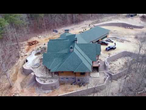 Drone flight of 9,300 sq. ft. red cedar log home in Southeastern United States