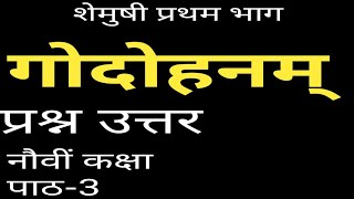 गोदोहनम्/godohnam question answer/9th class 3rd chapter solution/sanskrit exercise/cbse/shemushi/3 L