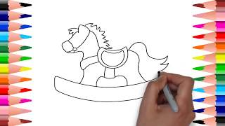 How to draw Toy Horse | Step By Step | Art Colors for Children.