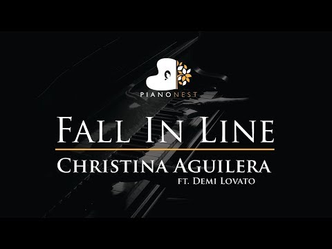 Christina Aguilera - Fall In Line Ft. Demi Lovato - Piano Karaoke / Sing Along / Cover With Lyrics