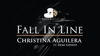 Christina Aguilera - Fall In Line ft. Demi Lovato - Piano Karaoke / Sing Along / Cover with Lyrics Video