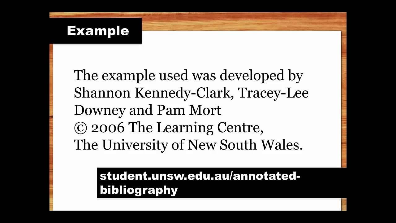 annotated bibliography uwa