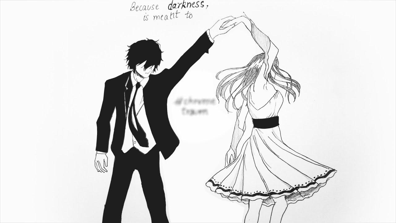 Hand drawn dancing couples chrometraum 1 speed drawing