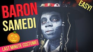 EXTREMELY EASY & CREEPY BARON SAMEDI HALLOWEEN MAKEUP| LAST MINUTE COSTUME IDEA