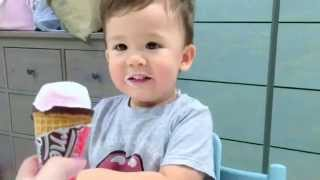 Baby Dash eats ice cream! (1yr 10m)