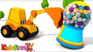 Excavator Max and carousel. Domestic animals. Animation.