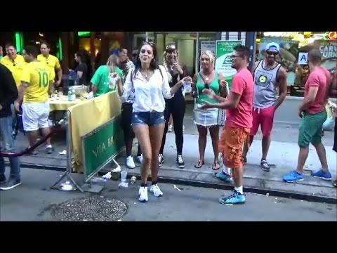 HOT BEAUTIFUL BRAZILIAN MODEL DANCING TO SAMBA STREET MUSIC AT BRAZIL DAY NEW YORK 2016