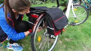 Schwarz-rote, doppelte Fahrradtasche - www.neo4home.de