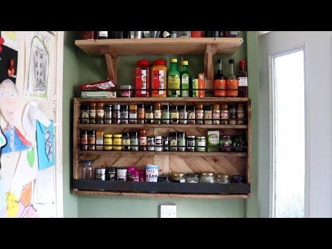 Pallet Wood Spice & Sauce Rack