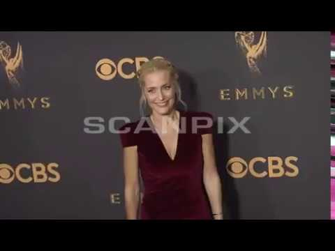 Gillian Anderson arrives at the 69th red carpet Primetime Emmy Awards