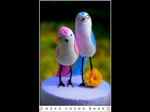 How To: DIY Love Birds Wedding Cake Topper- Fabric Bride and Groom Bird Tutorial