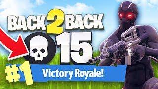 BACK TO BACK 15 KILL SOLO WINS! - FORTNITE BATTLE ROYALE