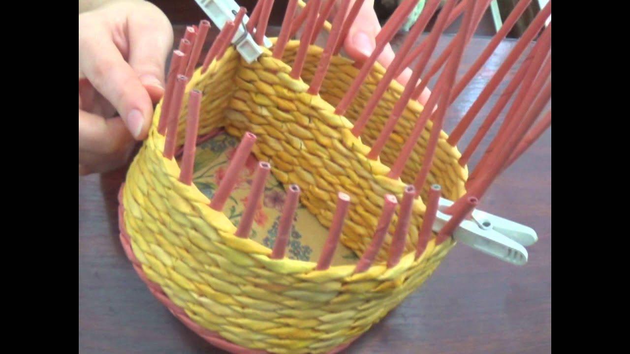 Плетение из газетных трубочек короб с крышкой 12