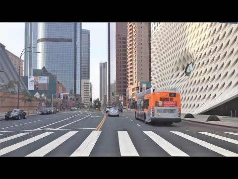 Driving Downtown - LA's Grand Ave - Los Angeles California USA