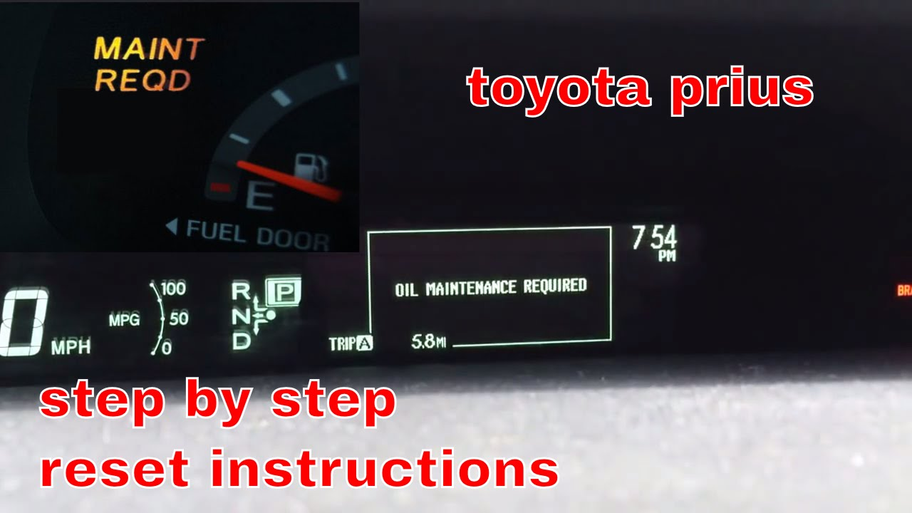 2017 Toyota Prius Oil Maintenance Required Light Reset