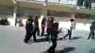 Girls playing bloody football on concrete Pt.1/3