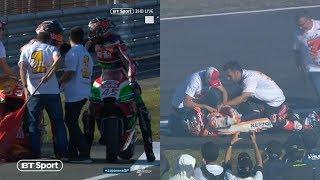 Scott Redding dislocates Marc Márquez's shoulder when celebrating with the Champ! Huge sports fail!