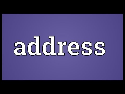 Address Meaning