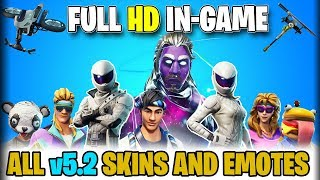 Fortnite v5.2: ALL *NEW* SKINS And EMOTES IN-GAME VIDEO (Before You Buy Video Showcases)