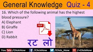 Basic GK General Knowledge Questions and Answers in English | Quiz - 4 | Click How