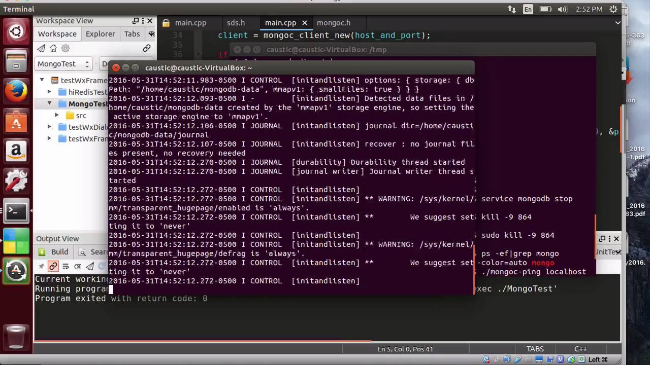Test C++ with wxWidget GUI and NOSQL MongoDB ping in Ubuntu