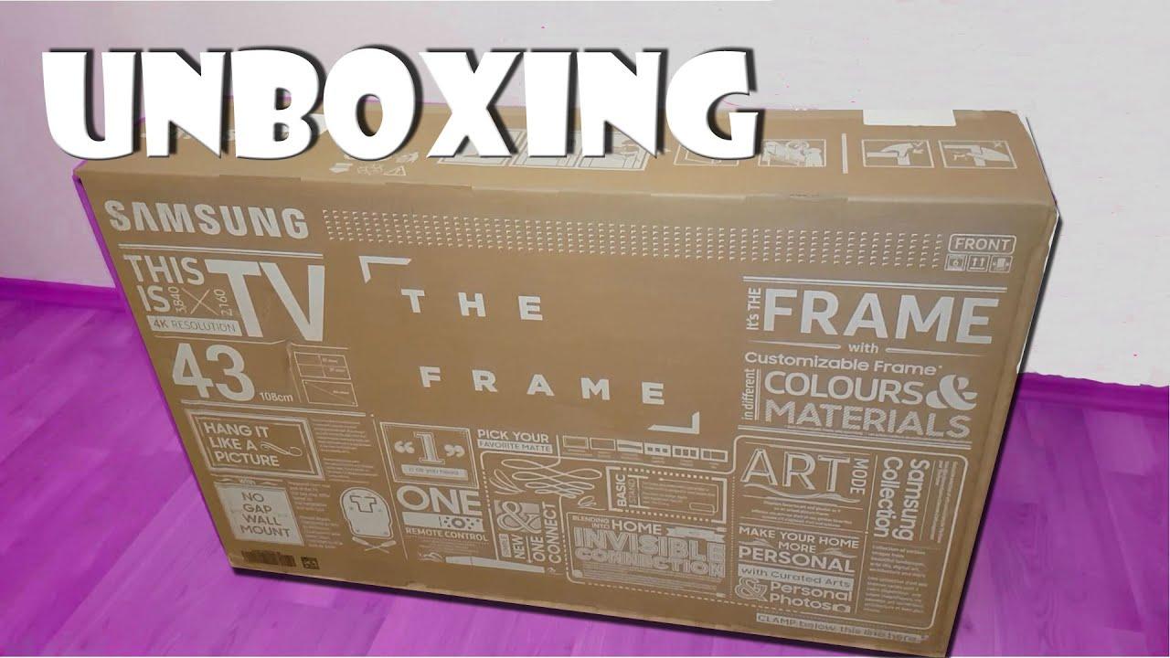 unboxing samsung tv the frame fernseher 4k uhd. Black Bedroom Furniture Sets. Home Design Ideas