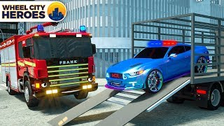 Fire Truck helps Sergeant Lucas the Police Car |  +More Wheel City Heroes Cartoon for Kids Children