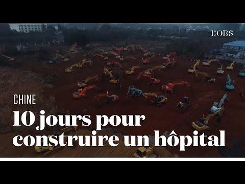 Le chantier monstre d'un hôpital à Wuhan pour les patients atteints du coronavirus