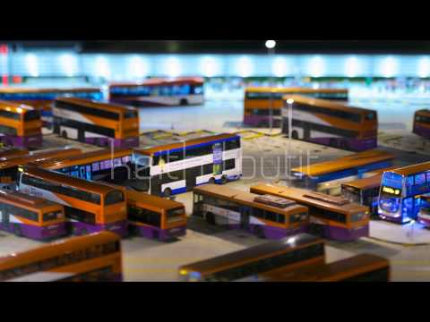 Keith Loutit - Singapore Bedok Bus Interchange Pan - Tilt Shift Timelapse Stock Footage
