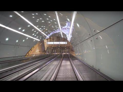 Poland, Warsaw, metro ride from Świętokrzyska to Wilanowska, 3X escalator, 1X elevator
