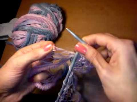 Вязание шарфа из ленточной