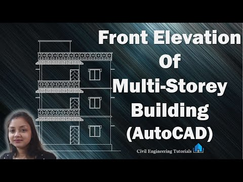 How to draw Front Elevation of Multi-Storey Building in AutoCAD | 3-Storeyed Building | AutoCAD