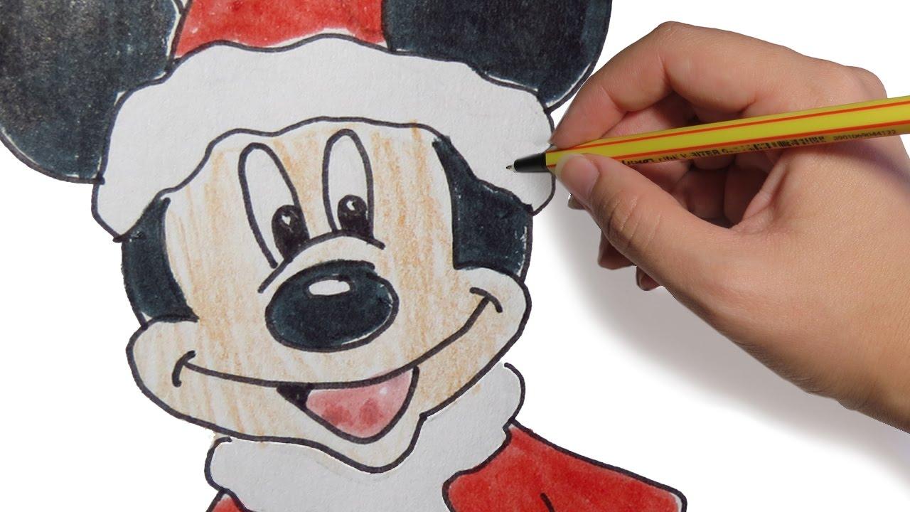 Dibujos De Navidad De Mickey Mouse Paso A Paso Facil A Color Para