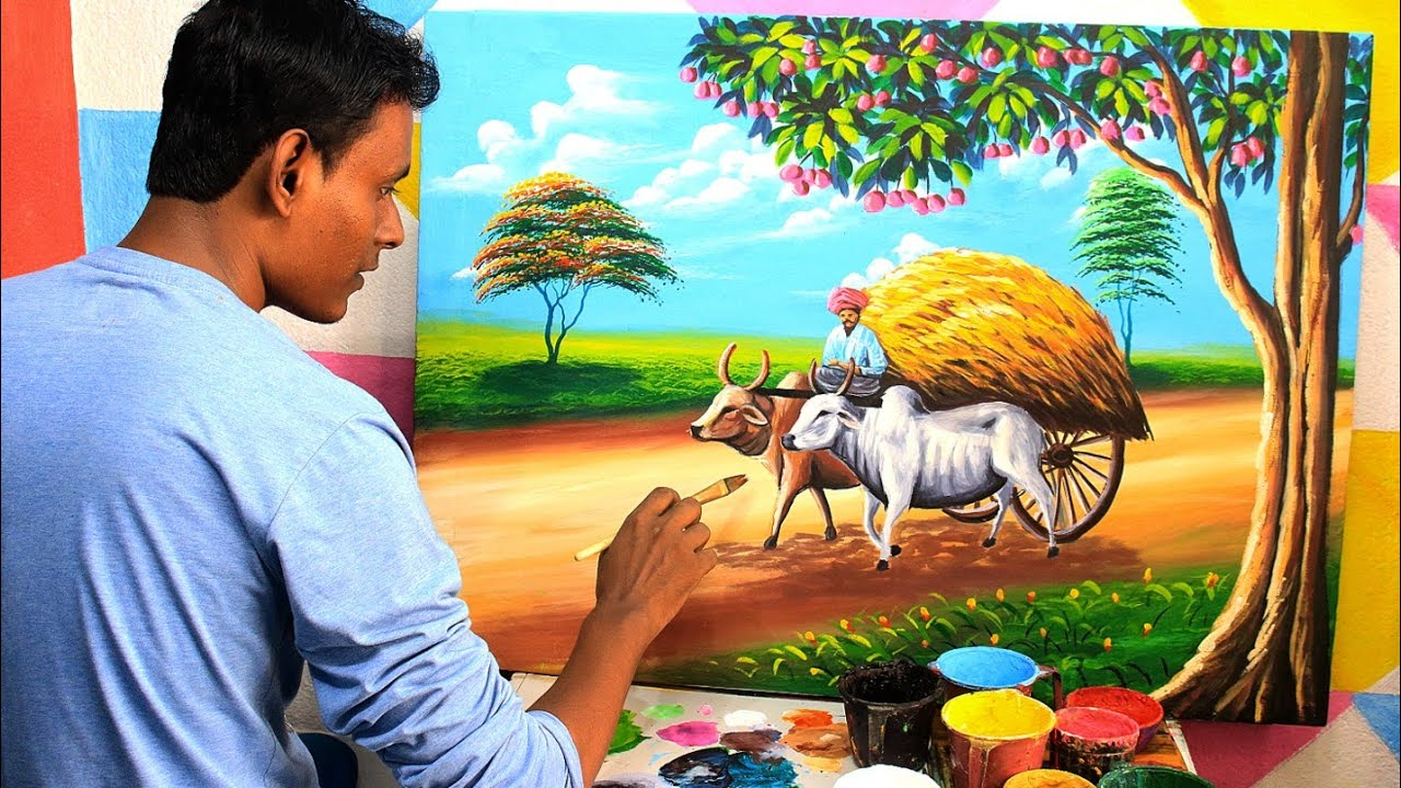 Indian village bullock cart drawing | Bailgadi drawing and painting | village scenery painting