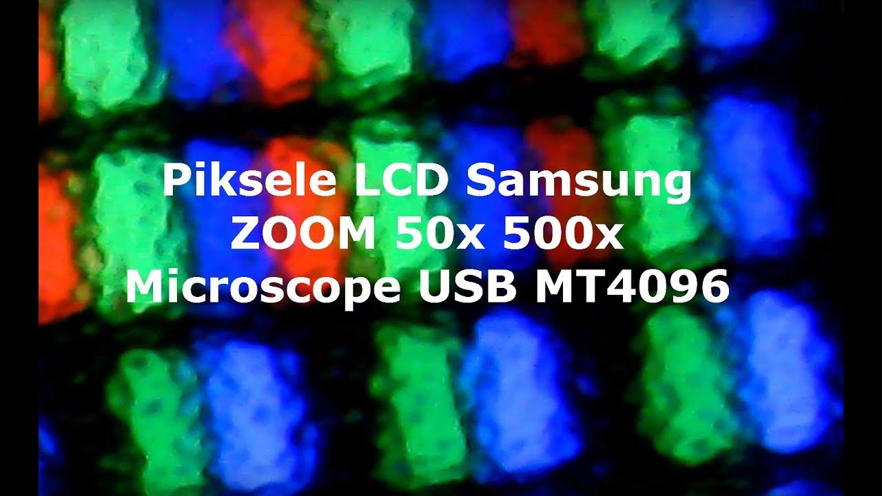 Jak wyglądają piksele monitora LCD matowy 500x zoom ? Microscope USB MT4096