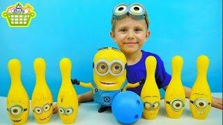 Говорящий Миньон Дэйв и кегли Миньоны - Детское смешное видео - Toys minion Dave