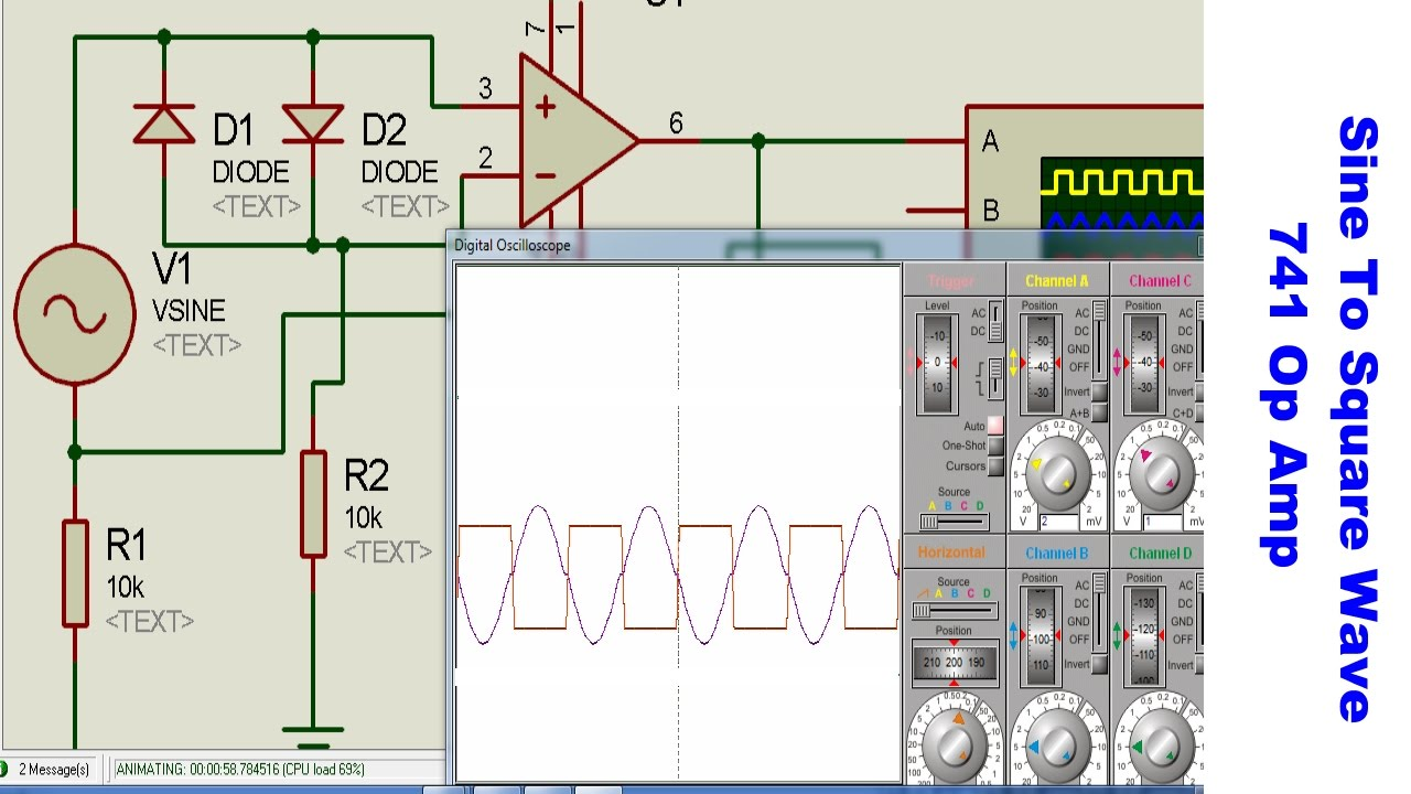 741 op amp sine to square wave converter [ 1280 x 720 Pixel ]
