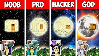 Minecraft Noob Vs Pro Vs Hacker Vs God  Family Block Moon House In Minecraft  Animation