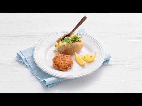 Zalmkoekjes met gepofte aardappel en prei – Allerhande